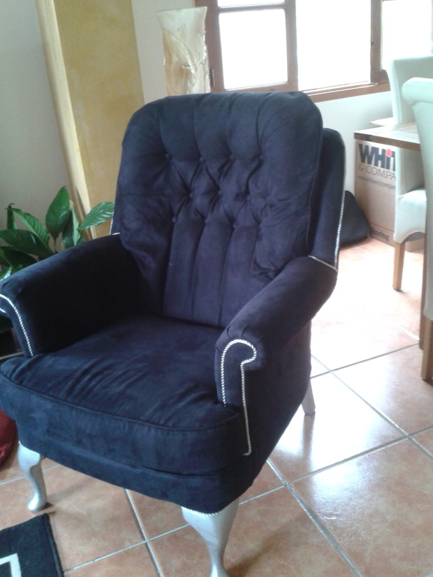 Upholstered chair n black faux suede trimmed silver