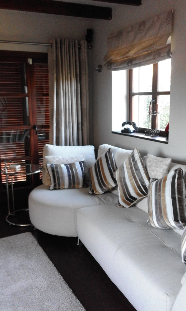 Silver swirl taffeta curtains and blinds, with velvet cushions